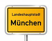 City limit sign MUNICH / MÃ?NCHEN against white background