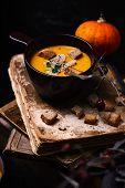 Pumpkin Cream  Soup With Foie Gras.style Rustic.selective Focus poster