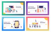 People Character Make Software Development Landing Page. Programming Code On Smartphone And Computer poster