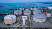 Oil And Petrochemical Tank, Storage Of Oil And Petrochemical Products Ready For Logistic And Transpo poster