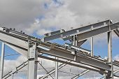 The Structure Of The Building. Steel Construction On The Sky Background. Electroplate Steel Metal. Z poster
