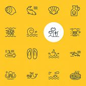 Vector Illustration Of 16 Nautical Icons Line Style. Editable Set Of Cod Fish, Fish Steak, Cetacean  poster