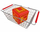 Purchase Of Household Appliances. One Red Cube With Symbols Of Household Appliances Lies In The Shop poster