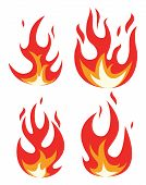 Vector Collection Of Fire Icons. Bonfire Flame Drawing Design Isolated On White Background. Colorful poster