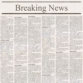 Newspaper With Headline Breaking News And Old Unreadable Text. Vintage Grunge Blurred Paper Texture  poster