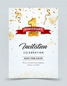 Invitation Card Template To The Day Of The 1 Anniversary With Abstract Text Vector Illustration. Gol poster