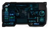 Command Center Screen In Tablet Hud. Topographic Map, Contour. Futuristic Interface Elements And Ear poster