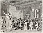 Old illustration depicting a Jobsiade scene (Job school teacher). Satirical poem by Carl Arnold Kort