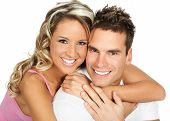 stock photo of love couple  - Young love couple smiling - JPG