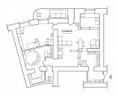 Floor Plan - Top View Plans. Standard Home Furniture Symbols Set Used In Architecture Plans, Home Pl poster