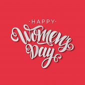 Happy Womens Day Vector Script Lettering On Red Background. Hand Written Design Element For Card, Po poster