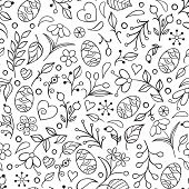 Seamless Pattern With Handdrawn Easter Eggs, Flowers, Leaves And Other Elements On White Background. poster