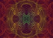 Psychedelic Trippy Colorful Fractal Mandala, Gradient Bright Color Outline, On Dark Brown Background poster