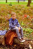 Camping Is Very Special To Me. Small Boy Enjoy Camping Trip. Small Traveler In Camping Area. Little  poster