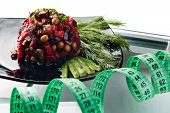 Healthy nutrition. Scales, measuring tape and vegetables on a white background.  Healthy lifestyle c poster
