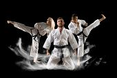 Three martial arts masters, karate, taekwondo practice. Smoke background poster