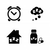 Time To Sleep, Hypnotic. Simple Related Vector Icons Set For Video, Mobile Apps, Web Sites, Print Pr poster