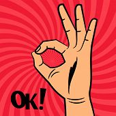 Ok Sign Comic Pop Art Style Vector Background. Illustration Of Gesture Ok, Hand Okay And Agree poster