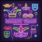 Mardi Gras Neon Icons Set On Brick Wall. Carnival Fluorescent Symbols And Objects - Mask With Feathe poster