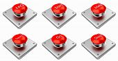3d Rendering. Red Web Buttons With Start, Stop, Help, Support, Faq, Go. Buttons On White Background. poster