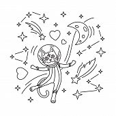 Cat Astronaut In Spacesuit Flying In Space. Outline Vector Illustration. Design For Kids Print, Colo poster