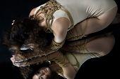 Submission Slave Woman Bound In Erotic Fashion Art Style Rope Shibari Kinbaku Japanese Bondage Knot. poster