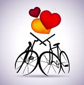 Vector Valentine card with two bicycles, eps10