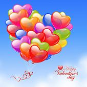 Colorful Heart Shaped Balloons in the sky. Valentine`s Day card.