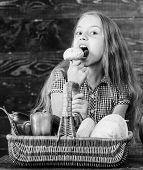 Kid Girl Near Basket Full Of Fresh Vegetables Harvest Rustic Style. Harvest Festival Concept. Farm M poster