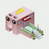 3d Isometric Bank For Banner Design. Isometric Illustration. Vector Flat Illustration. Isometric Ban poster