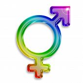 pic of transgender  - transgender symbol illustration with rainbow colors on white background - JPG