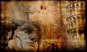stock photo of leonardo da vinci  - Grunge background with mysterious atmosphere of Italian famous historical culture treasures - JPG