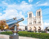 Telescope For Tourists At Notre Dame De Paris.