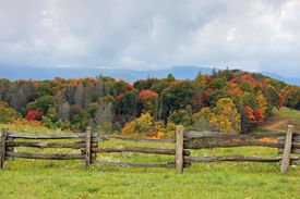picture of smoky mountain  - a scene in North carolina of the smoky mountain range with a rail fence and fall foilage - JPG