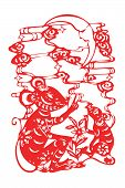 stock photo of kirigami  - Chinese papercut  twelve Chinese horoscope animals art - JPG