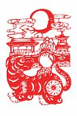 image of kirigami  - Chinese papercut  twelve Chinese horoscope animals art - JPG