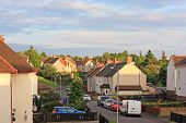 foto of social housing  - British street with social housing in summer time - JPG