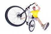 stock photo of dirt-bike  - crazy boy on a dirt jump bike isolated on white  - JPG