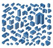 picture of isometric  - A large set of vector isometric buildings - JPG