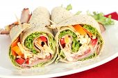 stock photo of sandwich wrap  - Ham wrap sandwich with salad and mayonnaise - JPG