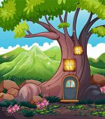 image of cloud formation  - Illustration of a tree house in the middle of the forest - JPG