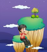 image of landforms  - Illustration of a boy waiting for someone at the topmost part of a landform - JPG