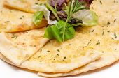 picture of pita  - fresh healthy garlic pita bread pizza with salad on top - JPG
