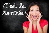 C'est la Rentree Scolaire - French student screaming happy Back to School written in French on black