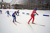 MOSCOW - FEB 9: Female skiers during FIS Continental Cup ski racing in category of city-event, Feb 9