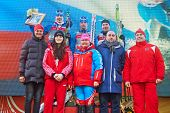 MOSCOW - FEB 9: Winners of FIS Continental Cup ski racing in category of city-event, February 9, 201