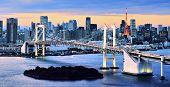 stock photo of kanto  - Rainbow Bridge spanning Tokyo Bay with Tokyo Tower visible in the background - JPG