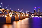 Han River and Bridge in Seoul, South Korea.