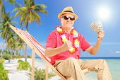 image of sand dollar  - Smiling gentleman sitting on a beach chair and holding US dollars - JPG