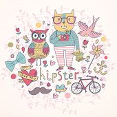 Hipster vector set in cartoon style. Cat with map and camera, owl, bird, bicycle, anchor, hearts and